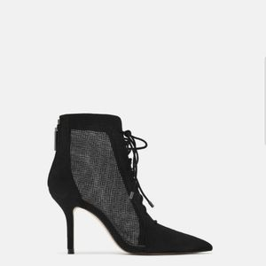 Mesh leather high heel boots